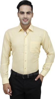 Da Vinci Men's Self Design Formal Yellow Shirt