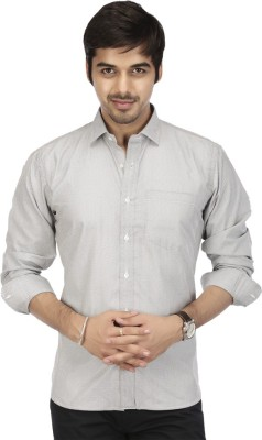 Acropolis Men's Checkered Formal Grey Shirt
