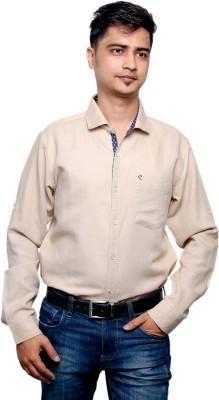 Relish Men's Solid Casual Beige Shirt
