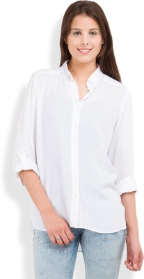 Tokyo Talkies Women's Solid Casual White Shirt