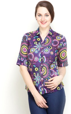 Tops and Tunics Women's Paisley Casual Purple Shirt