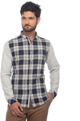 Apris Men's Checkered Casual Black Shirt