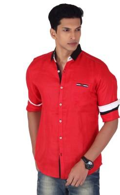 Vintage Soul Men's Solid Casual Linen Red Shirt