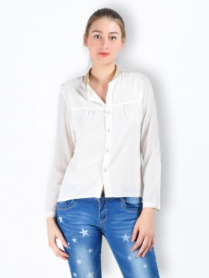 MySin Women's Solid Casual White Shirt