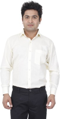 Aces Blue Men's Solid Formal Yellow Shirt