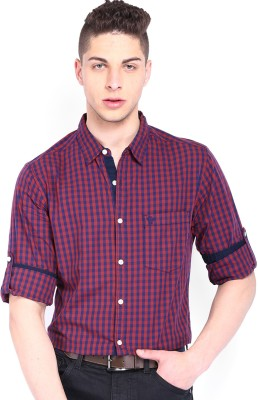Roadster Men's Checkered Casual Red Shirt