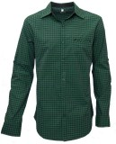 Darium Men's Checkered Casual Green, Bla...