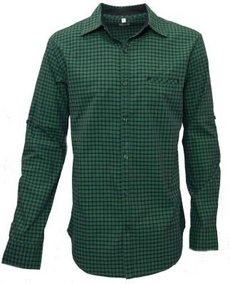 Darium Men's Checkered Casual Green, Black Shirt
