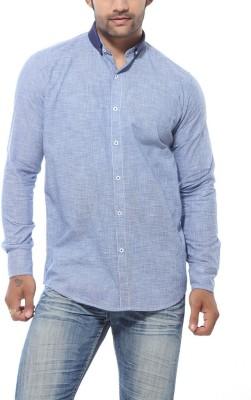 Roger Clothier Men's Self Design Casual Blue Shirt