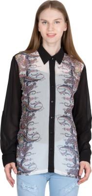 JAPPSHOP Women's Paisley Casual Black Shirt