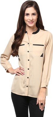 Martini Women's Solid Casual Beige, Black Shirt