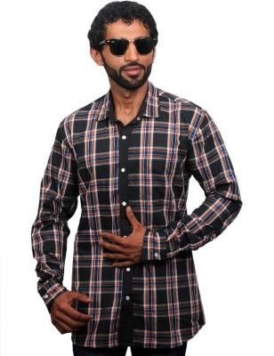 maclavaro Men's Checkered Casual Black Shirt