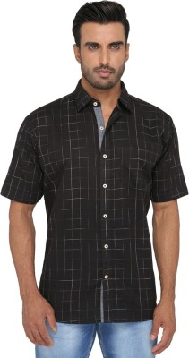 Greenfibre Men's Checkered Casual Black Shirt