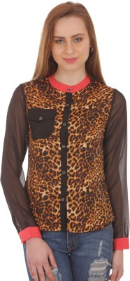 Aazos Women's Animal Print Casual Multicolor Shirt