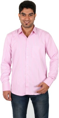 Green Apple Men's Striped Formal Pink Shirt