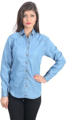 shopdayz Women's Solid Casual Blue Shirt