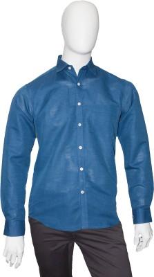 Cotton Natural Men's Solid Casual Dark Blue Shirt