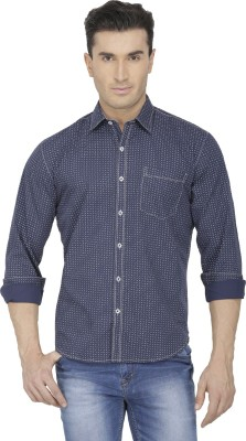 Spaky Men's Printed Casual Blue Shirt