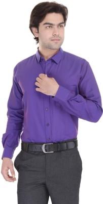 Janus Men's Solid Formal Blue Shirt