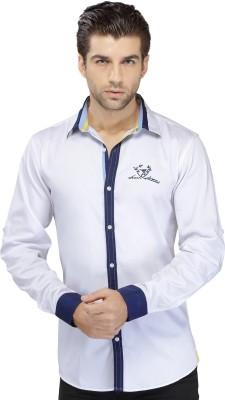 SEVEN STITCHES Men's Solid Casual White Shirt