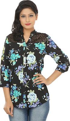 Adhaans Women,s Floral Print Casual Black, Blue Shirt