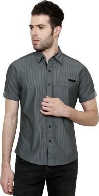 True Tittos Men's Striped Casual Grey, Green Shirt
