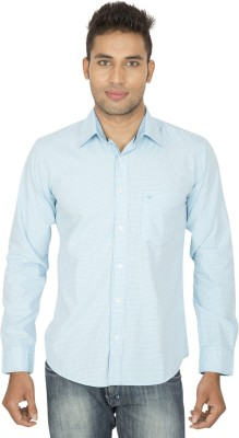 SmartCasuals Men's Checkered Casual Light Blue Shirt