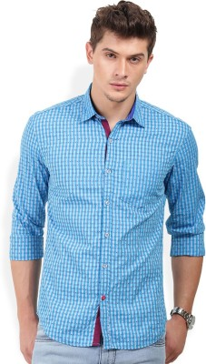 PAN VALLEY Men's Self Design Casual Blue Shirt