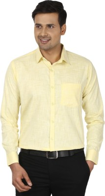 Edinwolf Men's Solid Formal Linen Yellow Shirt
