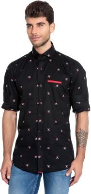 Estycal Men,s Printed Casual Black Shirt