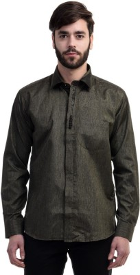 Future Plus Men's Self Design Casual Black Shirt