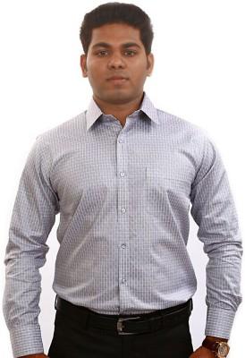 Iconic Men's Self Design Formal Grey Shirt