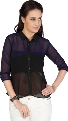 Iamyou Women's Solid Casual Blue Shirt