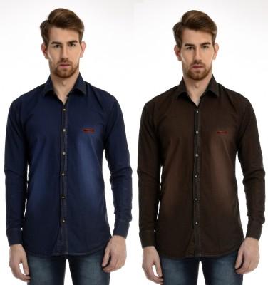 AVSPOLO Men's Solid Casual Dark Blue, Brown Shirt