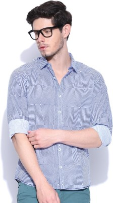 United Colors of Benetton Men's Printed Casual Light Blue Shirt