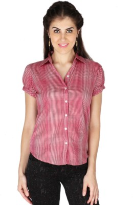 La Vida Women's Checkered Casual Red, White Shirt