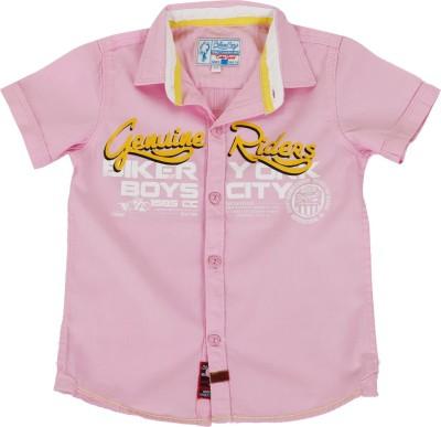 Biker Boys Boy's Printed Casual Pink Shirt