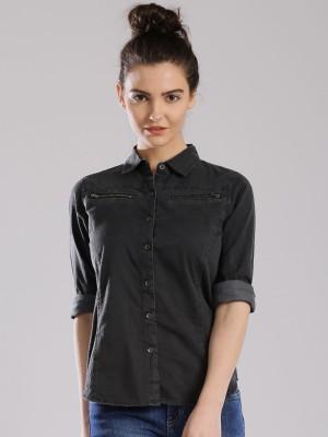 HRX by Hrithik Roshan Women's Woven Casual Grey Shirt
