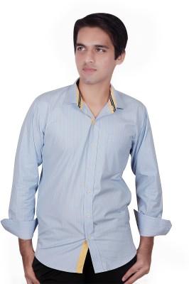 Elle Et Lui Men's Striped Formal Blue Shirt