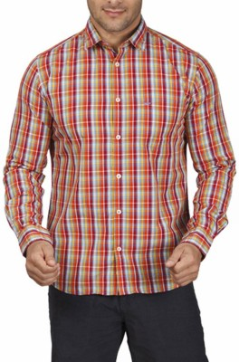 Park Avenue Men,s Checkered Casual Orange Shirt