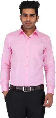Prague Fashion Men's Self Design Formal Pink Shirt