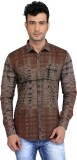 Glabrous Men's Checkered Casual Brown Sh...