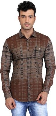 Glabrous Men,s Checkered Casual Brown Shirt