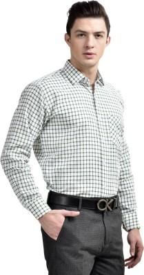 Comfortline Men's Checkered Formal Green Shirt