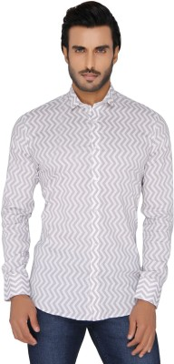 Mode De Base Italie Men's Printed Casual, Party White, Beige Shirt