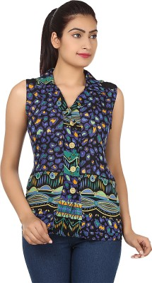 Maxi Fashion Casual Sleeveless Solid Women's Blue Top