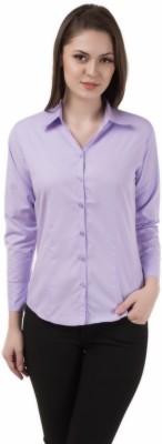 Apoyo Women's Solid Formal Purple Shirt