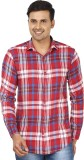 Edinwolf Men's Checkered Casual Red, Whi...