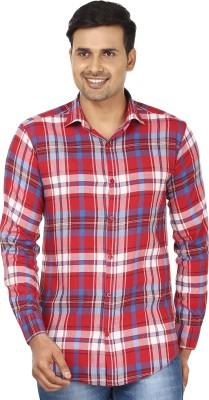 Edinwolf Men's Checkered Casual Red, White Shirt