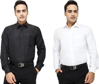 Yuva Men's Solid Formal Black, White Shirt